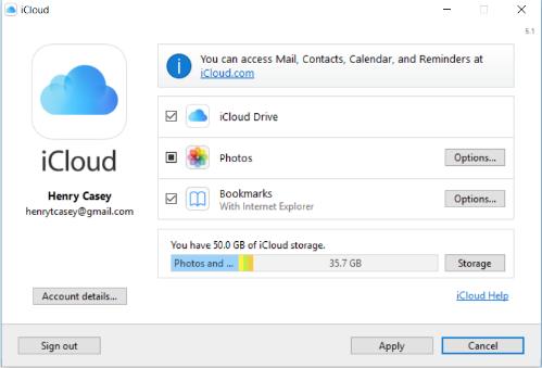 Главное окно программы iCloud